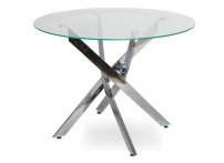 Обеденный стол НАРРО LH-02 Прозрачный / хром 100 см