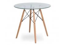 Стол Eames DSW 4BT d100 см Прозрачный / бук