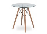 Стол Eames 4BT d80 см Прозрачный / орех