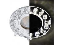 Встраиваемый хрустальный потолочный светильник под лампу MR-16 с LED подсветкой LD1661 прозрачный