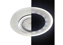 Встраиваемый хрустальный потолочный светильник под лампу MR-16 с LED подсветкой LD1650 белый матовый