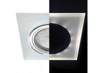 Встраиваемый хрустальный потолочный светильник под лампу MR-16 с LED подсветкой LD1651 белый матовый