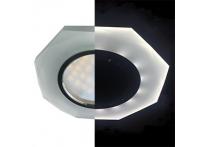 Встраиваемый хрустальный потолочный светильник под лампу MR-16 с LED подсветкой LD1652 белый матовый