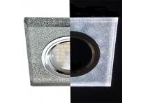 Встраиваемый хрустальный потолочный светильник под лампу MR-16 с LED подсветкой LD1651 сияющее серебро