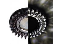 """Встраиваемый хрустальный потолочный светильник под лампу MR-16 с LED подсветкой LD1661 """"Гребенка"""" черный"""
