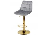 Барный стул Дижон WX-2822 серый велюр на золотой ножке