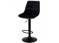 Барный стул Лион WX-2821 черный велюр на черной ножке