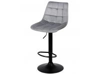 Барный стул Лион WX-2821 серый велюр на черной ножке