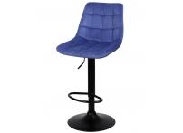 Барный стул Лион WX-2821 синий велюр на черной ножке