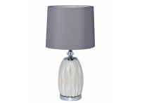 Лампа настольная из белого стекла 22-87755 серый абажур