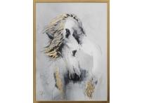 """Холст """"Белая лошадь"""" в золотом багете 89VOR-AQUARELLE14"""
