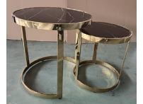 Набор из 2-х журнальных столов 47ED-ET081S-GOLD искусственный мрамор / золото