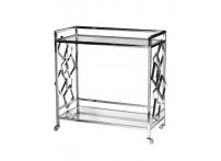 Стол-тележка сервировочная GY-CRT8164 прозрачное стекло / хром