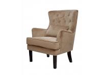 Кресло велюровое 24YJ-7004-06413/1 бежевое