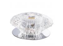 Встраиваемый хрустальный потолочный светильник под лампу G-9 Y023-1 серебро