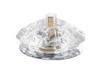 Встраиваемый хрустальный потолочный светильник под лампу G-9 Y025-1 серебро