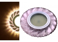 Встраиваемый акриловый потолочный светильник под лампу MR-16 с LED подсветкой K1102L-7 розовый