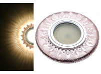 Встраиваемый акриловый потолочный светильник под лампу MR-16 с LED подсветкой K1103L-7 розовый