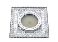 Встраиваемый акриловый потолочный светильник под лампу MR-16 с LED подсветкой K1201L-1 прозрачный