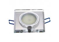Встраиваемый хрустальный потолочный светильник под лампу MR-16 с LED подсветкой D0001L-1 серебро
