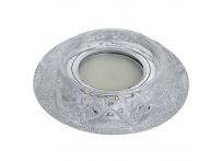Встраиваемый хрустальный потолочный светильник под лампу MR-16 с LED подсветкой Y1502L-01 сияющее серебро