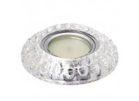 Встраиваемый хрустальный потолочный светильник под лампу MR-16 с LED подсветкой Y1571L-1 серебро