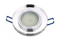 Встраиваемый хрустальный потолочный светильник под лампу MR-16 с LED подсветкой D0301L-1 серебро