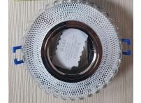Встраиваемый хрустальный потолочный светильник под лампу MR-16 с LED подсветкой D0610L-11 прозрачный/белый