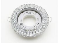 Встраиваемый хрустальный потолочный светильник под лампу GX-53 с LED подсветкой KG5350L-1 прозрачный