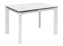 Обеденный стол CORNER 120 глянцевая керамика под мрамор / Белый каркас