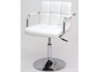 Компьютерный стул поворотный KRUGER ARM 811B белый хром