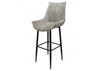 Барный стул ЭЛАЙ велюр серый мрамор/черный каркас 75 см