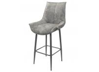 Полубарный стул ЭЛАЙ велюр серый мрамор/каркас серебро, 65 см