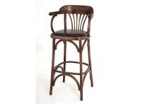 Венский барный стул 75 темный тон / коричневая экокожа
