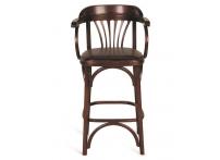 Венский барный стул 65 темный тон / коричневая экокожа