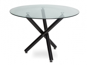 Обеденный стол РУССО LH-01 Прозрачный / черный 110 см
