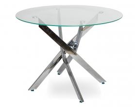Обеденный стол НАРРО LH-02 Прозрачный / хром 110 см
