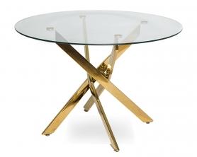 Обеденный стол НАРРО LH-02 Прозрачный / золото 120 см
