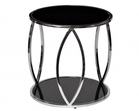 Журнальный столик с черным стеклом 13RXT6042-SILVER