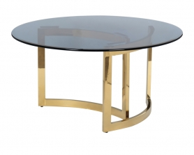 Стол журнальный золотой с темным стеклом 47ED-CT062GOLD