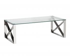 Стол журнальный с прозрачным стеклом (цвет хром) 47ED-CT008