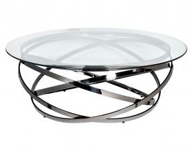 Столик журнальный GY-CT8402BL прозрачное стекло / темный хром