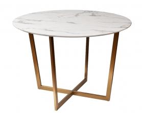 Стол обеденный круглый белый (искусственный мрамор) 33FS-DT3022-BBS