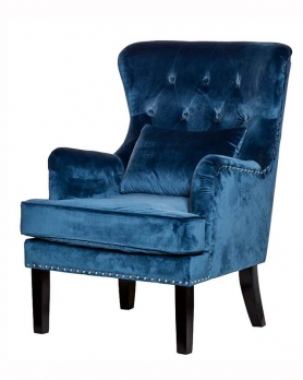 Кресло велюровое 24YJ-7004-06466/1 синее.