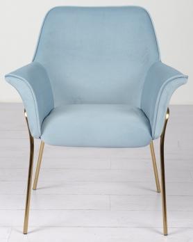Кресло велюровое серо-голубое на металлических ножках 30C-1127-Z LBL