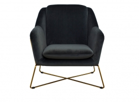 Кресло на металлическом каркасе велюровое серо-зеленое 46AS-AR2976-GR