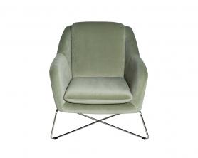 Кресло на металлическом каркасе велюровое светло-оливковое 46AS-AR2976-OLV