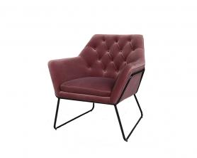 Кресло на металлическом каркасе велюровое пепельно-розовое 48MY-2636-1 PI