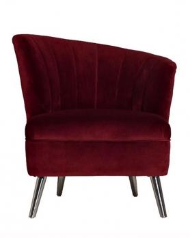 Кресло велюровое 48MY-2553-R бордовое
