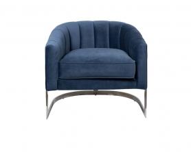 Кресло на металлическом каркасе темно-синее ZW-777 BLU SS